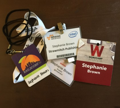 photo of conference badges.